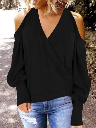 Casual fashion off shoulder long sleeve blouses