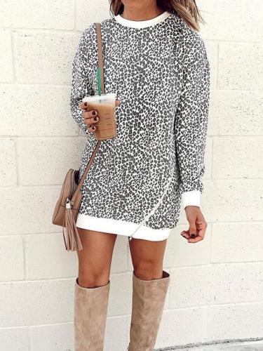Casual Round Neck Leopard Zipper Shift Dresses