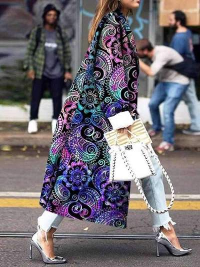 Long lapel printed long sleeve coats for women