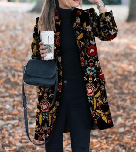 Fashion Pocket Floral Printed Pattern Women Coats