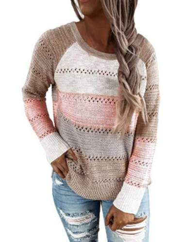 Women round neck color matching long sleeve casual sweaters