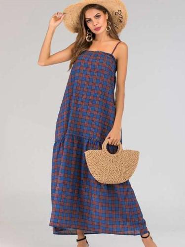 Fashion Plaid Vest Maxi Dresses