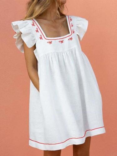 Casual Loose Print Square collar Falbala Pocket Shift Dresses