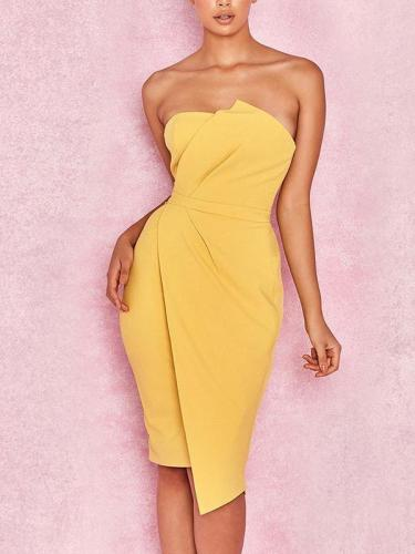 Strapless Backless Sexy Elegant Bodycon Medium Dress Evening Dress