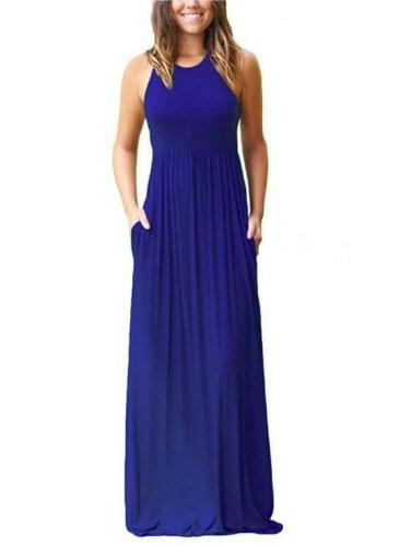 Casual Round neck Vest Maxi Dresses
