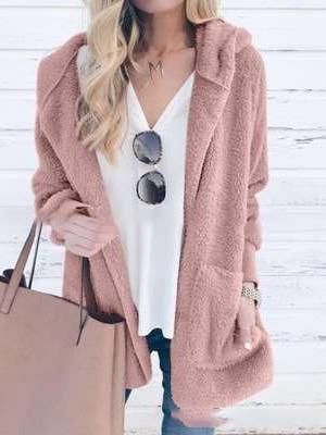 Pure Long sleeve Plush Hoodies Coats