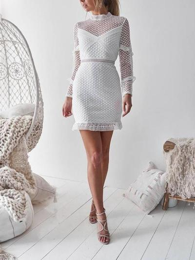 Women Elegant soluble lace wrap hip bodycon dresses