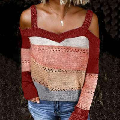 Fashion Stripe print Off shoulder Long sleeve Knit Sweaters