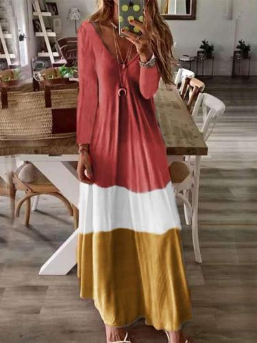 Loose V neck Long sleeve Maxi Dresses