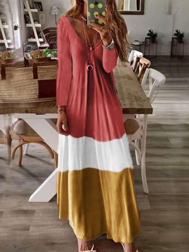 Loose V neck Long sleeve Maxi Dresses