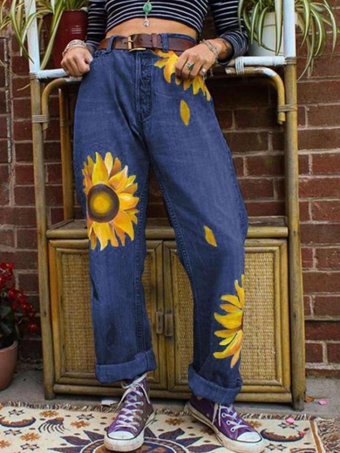 Fashion Casual Print Jean Pants