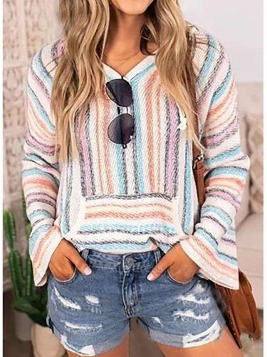 Fashion Casual Stripe Long sleeve Hoodies Sweatshirts