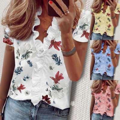 Fashion Print V neck Short sleeve Falbala Blouses