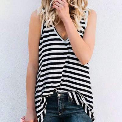 Fashion Stripe V neck Sleeveless Irregular T-Shirts