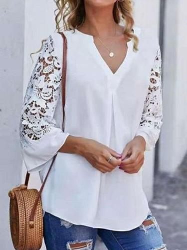 Casual Pure V neck Hollow out Long sleeve Blouses