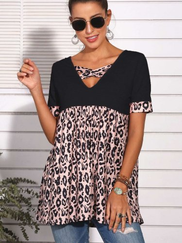 Fashion Gored Leopard print V neck Short sleeve T-Shirts