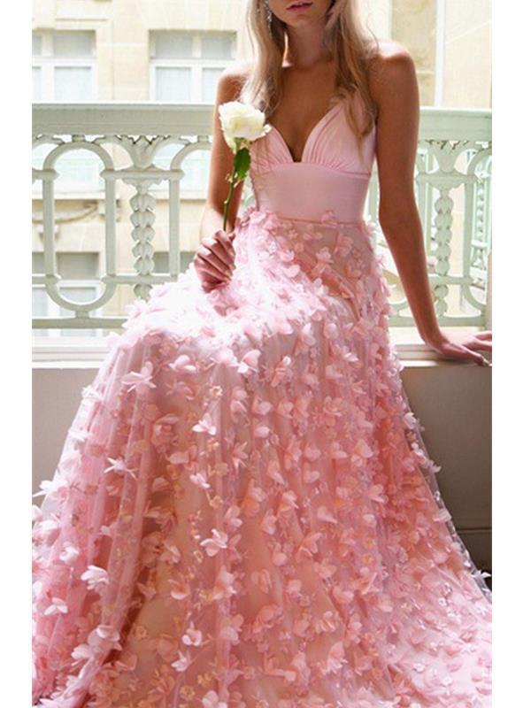Elegant v neck strap long evening dresses