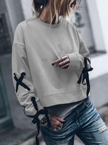 Fashion Pure Round neck Long sleeve Lacing Sweatshirts