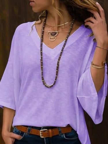 Women Loose Daily Plain V neck T-shirts