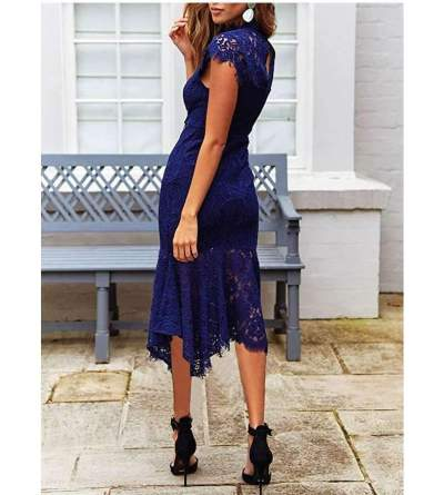 Fashion Sexy Lace Hollow out Fishtail skirt Evening Dresses
