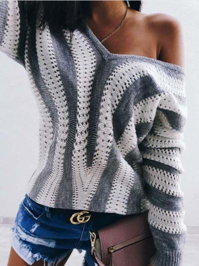 Fashion Stripe V neck Long sleeve Knit Sweaters