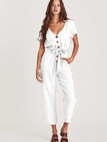 Fashion Pure V neck  Fastener Short sleeve Jumpsuits