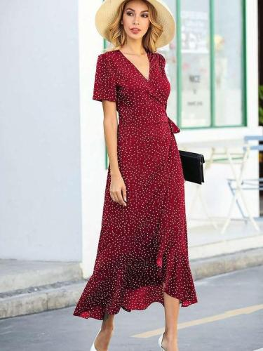 Fashion V neck Short sleeve Print Irregular  Falbala Maxi Dresses