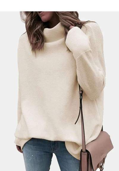 Fashion Casual Pure High collar Long sleeve Sweaters