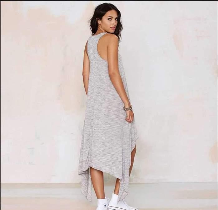 Loose Sleeveless V neck Irregular Maxi Dresses