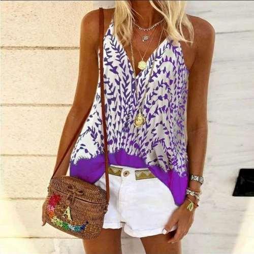 Fashion Sexy Print V neck Vests