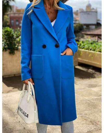 Fashion Casual Pure Lapel Pocket Long sleeve Woolen Trench Coats