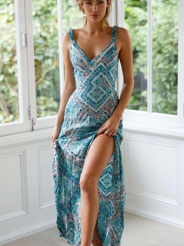 Sexy Lacing V neck Vest Maxi Dresses