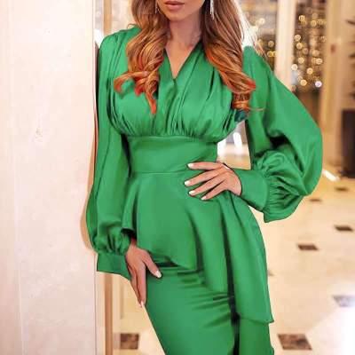 Fashion Pure V neck  Falbala Long sleebe Evening Dresses