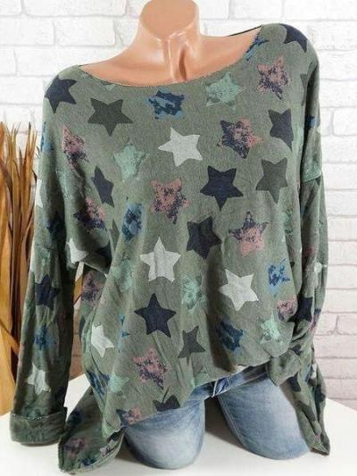 Casual Daily Star Printed Long Sleeve Large Size T-shirts