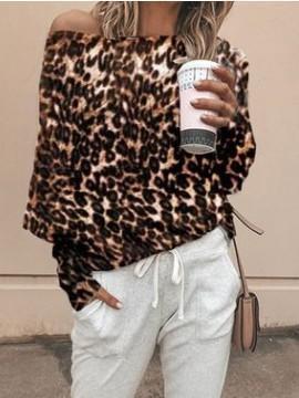 Fashion Leopard print  Batwing sleeve T-Shirts