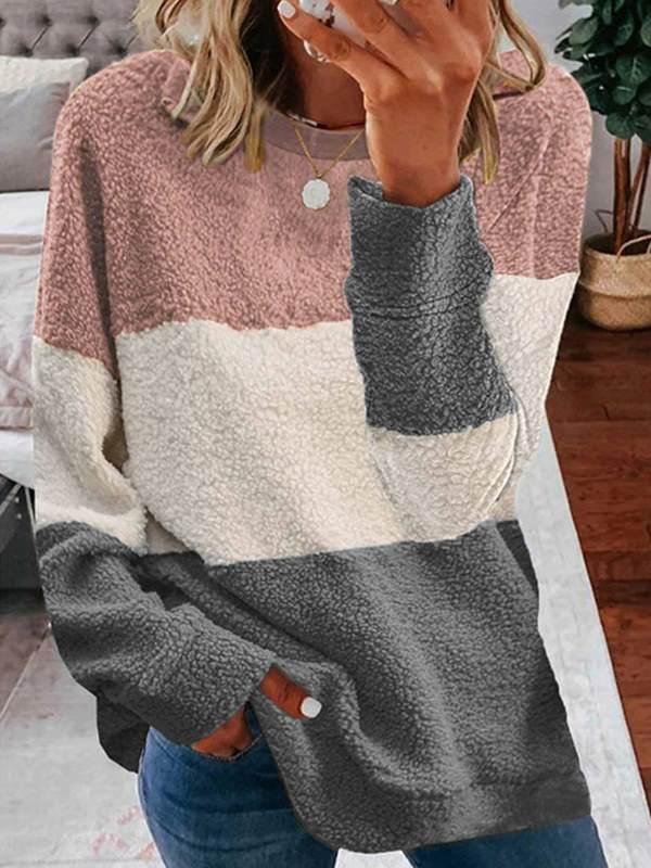 Women round neck many colors stripe Sweatshirts tops