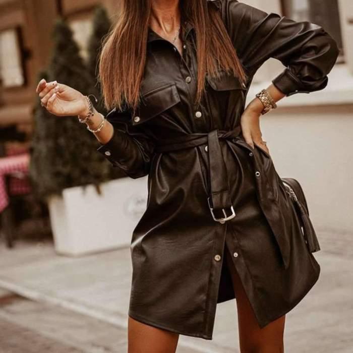 Fashion Pure Lapel Long sleeve Belt PU Coat Dresses Skater Dresses