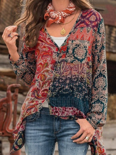 Casual V neck Printed Vintage Chiffon Blouses Tops