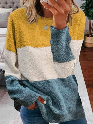 Women round neck many colors stripe Sweatshirts tops