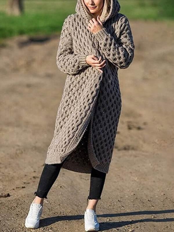 Fashion plain hoodie long sweater coats cardigans