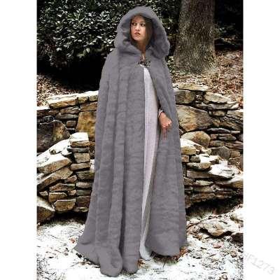 Fashion Pure Plush Long Hoodie Cloak Coats