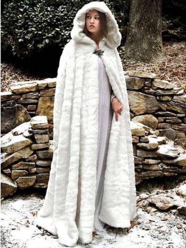 Fashion Pure Plush Long Hoodie Cloak Coats