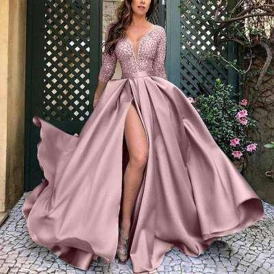 Sexy Pure Gold stamping V neck Three quarter sleeve Big hem Evening Dresses