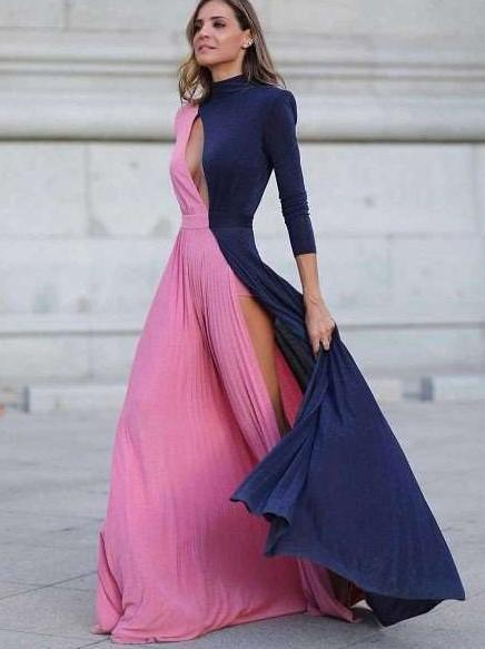 Fashion Sexy Goreg Vent Long sleeve Round neck Maxi Dresses