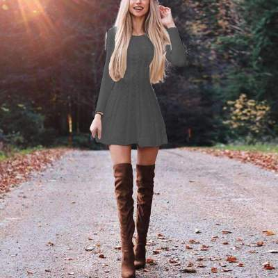 Fashion Pure Round neck Long sleeve Knit Skater Dresses Sweater Dress
