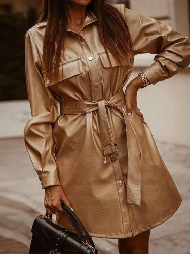 Fashion Pure Lapel Long sleeve Belt PU Coat Dresses Skater Dresses