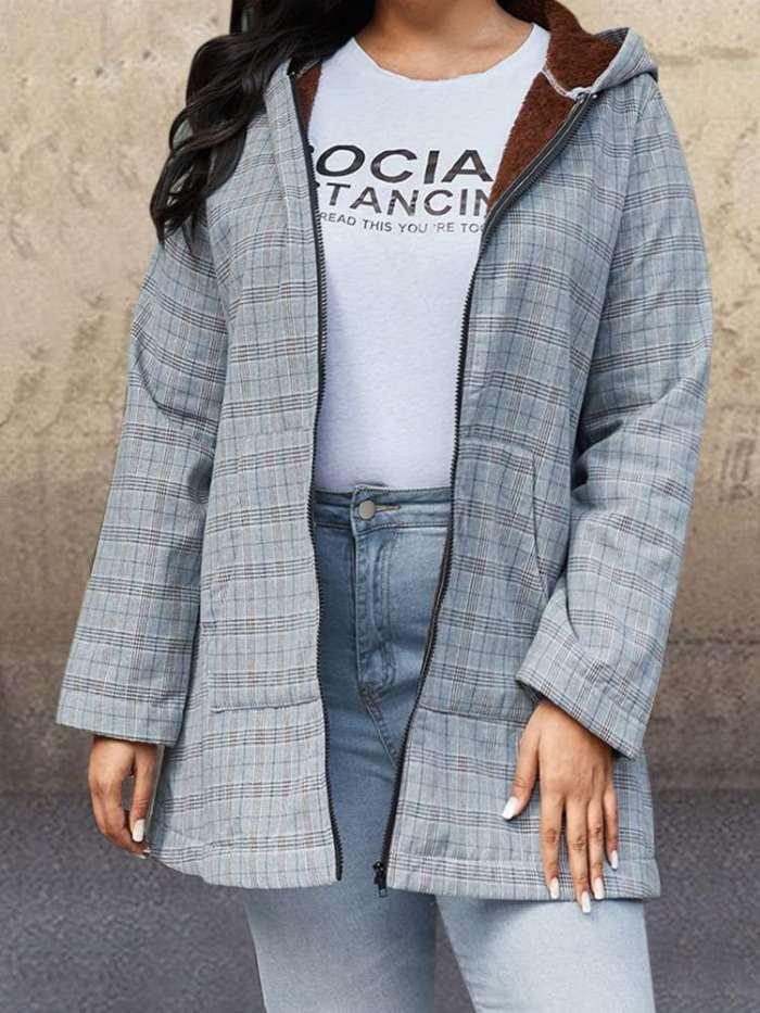 Plus Plaid print Brushed Hoodie Long sleeve Zipper Coats