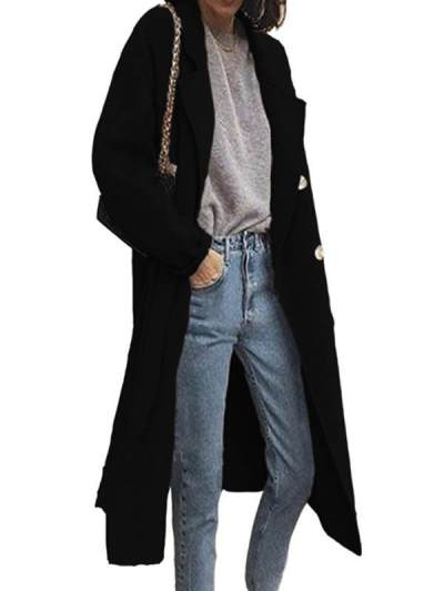 Elegant Plain Turn Down Neck Women Plain Long Coats