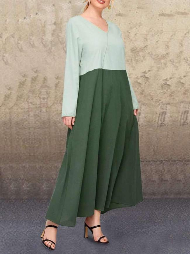 Fashion Casual Loose Gored V neck Long sleeve Maxi Dresses