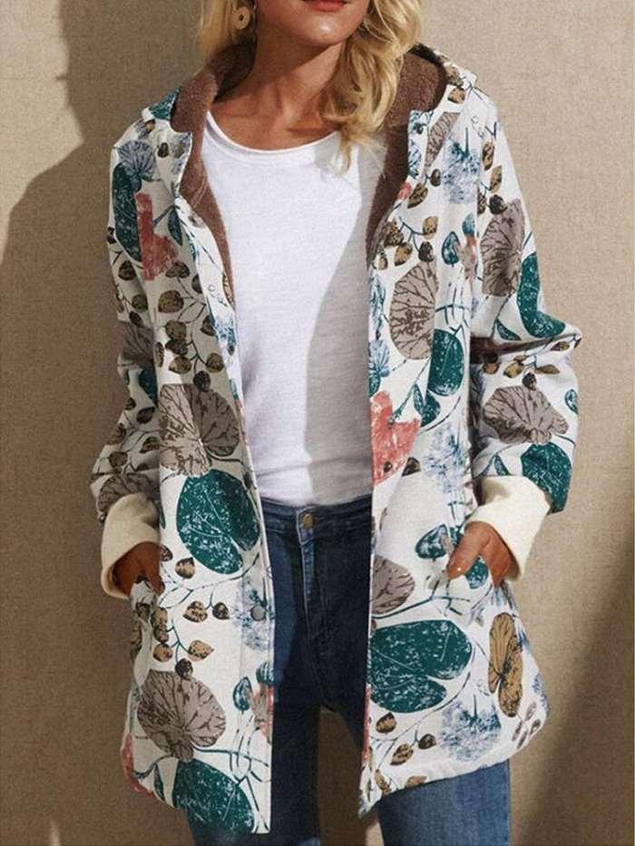 Fashion Retro Print Brushed Hoodie Long sleeve Coats